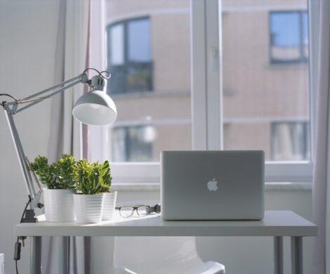 работно бюро с лаптоп, лампа и цветя пред голям прозорец